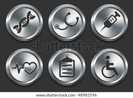 Health Hospital Icons on Metal Internet Button Original Vector Illustration