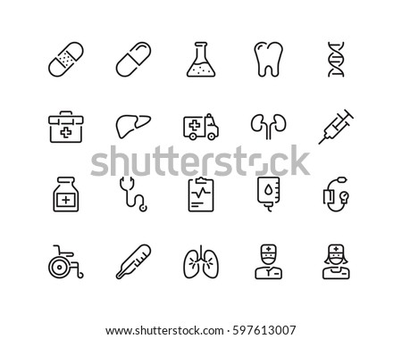 Health icon set, outline style