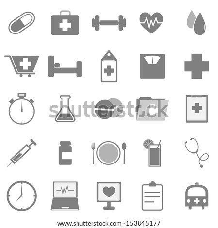 Health icons on white background, stock vector