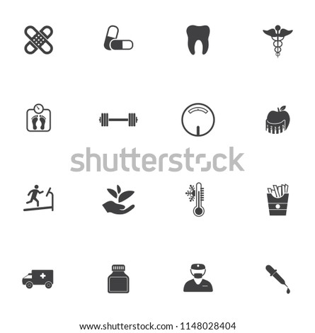 health icons set - medical care sign and symbol - pharmacy for medicine
