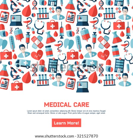 Health illustration. Design elements. Background with medicine symbols. Medical healthcare brochure
