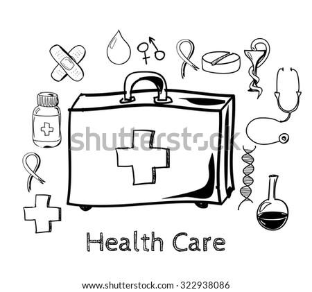 Health illustration. Design elements. Background with medicine symbols. Medical healthcare brochure