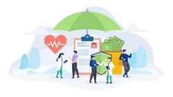 Health insurance concept flat vector illustration for landing page, banner, web design, business