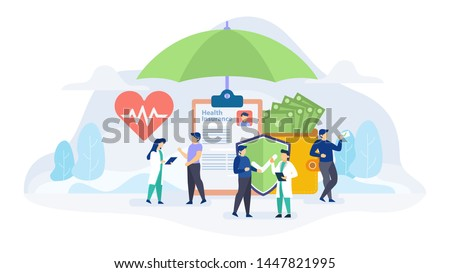 Health insurance concept flat vector illustration for landing page, banner, web design, business Сток-фото ©