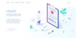 Health insurance concept in isometric vector design. Male doctor or physician insurer with contract form in clipboard. Healthcare or medical plan expenses or finance. Web banner layout template.