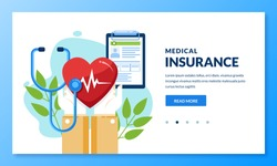 Health insurance concept. Vector flat medical care illustration. Hands holding heart and health insurance sheet. Landing page or banner design template for medicine and healthcare themes.