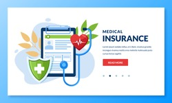 Health insurance concept. Vector flat medical care illustration. Heart, stethoscope, green shield and health insurance sheet. Landing page or banner design template for medicine and healthcare themes.