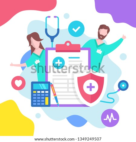 Health insurance concept. Vector illustration. Medical insurance. Modern flat design graphic elements for websites, web pages, templates, infographics, web banners, etc.