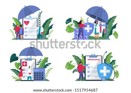 Health insurance concept web banner set. People standing at the big clipboard with document on it. Healthcare and medical service. Isolated flat vector illustration