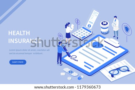 Health insurance concept with characters. Can use for web banner, infographics, hero images. Flat isometric vector illustration. #1179360673