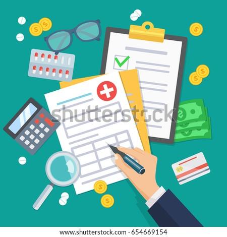 Health insurance form concept vector illustration.The hand fills the form of medical insurance. Flat design graphic elements. Medical equipment, money, prescription medications.