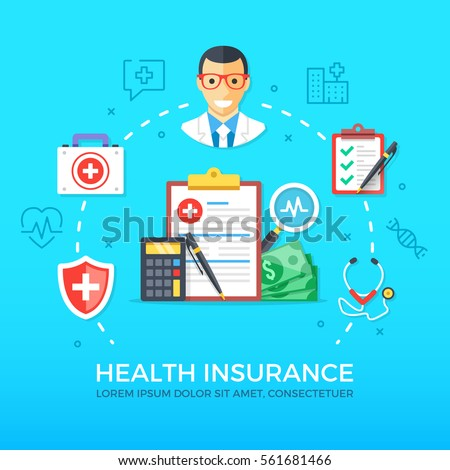 Health insurance. Healthcare, medicine. Flat design graphic elements, line icons set. Premium quality. Modern concept for web banners, websites, infographics, printed materials. Vector illustration