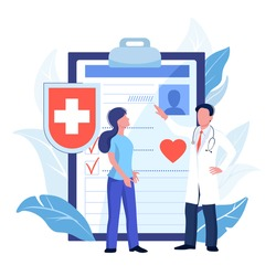 Health insurance, hospital and medical care concept. Vector