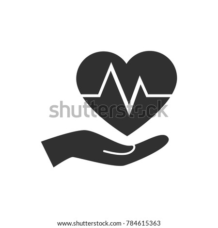 Health insurance icon. Heart in hand vector.
