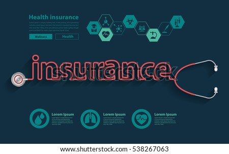 health insurance ideas concept creative design, with Stethoscope in the shape of a insurance words design, Vector illustration modern design layout template