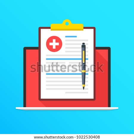 Health insurance on laptop screen. Notebook and clipboard with medical record and pen. Filling application form concepts. Modern long shadow flat design graphic elements. Vector illustration