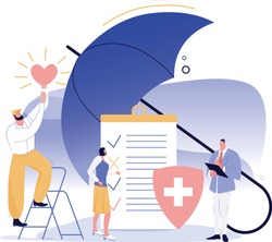 Health insurance service concept. People stand near contract and covered by umbrella. Staff in hospital office filling medical document form with checkmarks. Healthcare vector flat illustration