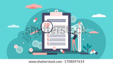 Health insurance vector illustration. Medical costs security support flat tiny persons concept. Expensive money risk agreement to cover expenses payback. People diseases and illness payment protection