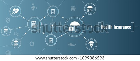 Health insurance Web Banner w Umbrella icon set with medical icons