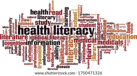 Health literacy word cloud concept. Collage made of words about health literacy. Vector illustration Сток-фото ©