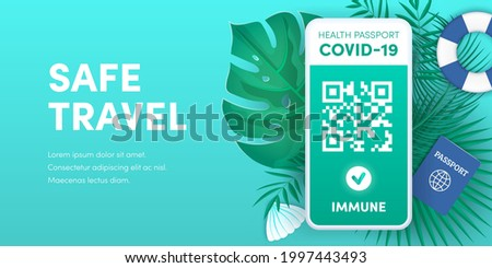 Health pass app for safe travel. Electronic Covid-19 immunity passport QR code on smartphone screen vector banner. Vaccination or negative coronavirus test green valid certificate on mobile phone. Stock foto ©