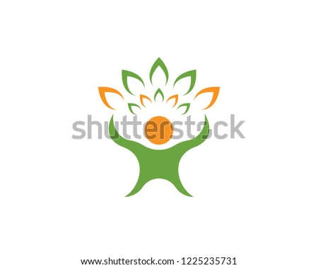Health people leaf logo template vector