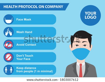 Health Protocol working on office. Best design for announcement for company about Covid 19 protocol Foto stock ©
