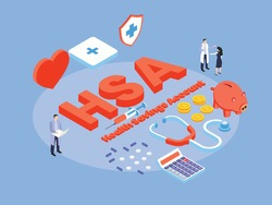 Health Savings Account (HSA) isometric 3d vector concept for banner, website, illustration, landing page, flyer, etc.