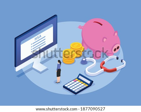 Health Savings Account HSA isometric 3d vector concept for banner, website, illustration, landing page, flyer, etc. Foto stock ©