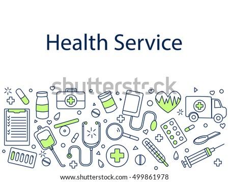 Health service banner vector illustration. Sport tools drawing. Icons line art set
