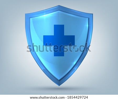 Health shield. Realistic glass protection symbol with cross sign, healthcare security label. Medicine and personal protective equipment advertising emblem. Medical logo template, vector illustration Photo stock ©