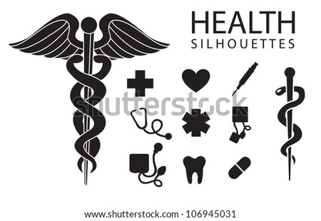 health silhouettes on white background, vector illustration