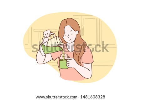 Health, vegetarianism, vegan green smoothie or cocktail concept. Happy healthy young woman got a vegetarian meal, Breakfast. Teenager Student girl with smile ready to eat healthy. Simple flat vector. Stock foto ©