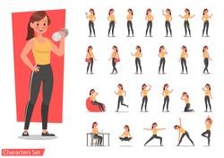 Health women are exercising character design set. Vector design.