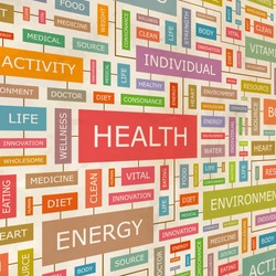 HEALTH. Word collage. Vector illustration.