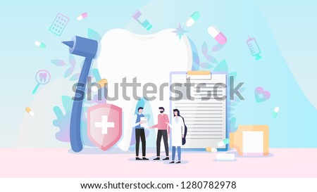 Healthcare and Dental Insurance Flat Vector Concept with Medical Instruments, Human Tooth, Pills and Man Receiving Insurance Policy from Insurance Agent and Doctor Illustration. Medicine Services