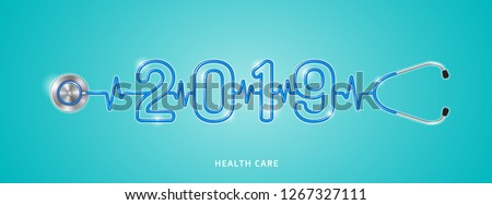 Healthcare and medical concept stethoscope shape 2019 checkup for happy and healthy new year. wishing you stay in good health. vector illustration