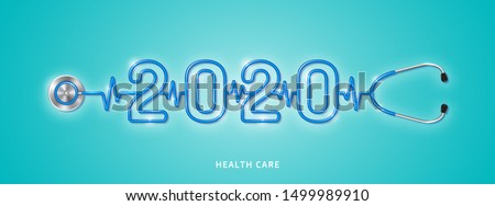 Healthcare and medical concept stethoscope shape 2020 checkup for happy and healthy new year. wishing you stay in good health. vector illustration
