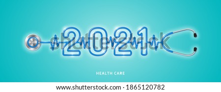 Healthcare and medical concept stethoscope shape 2021 checkup for happy and healthy new year. wishing you stay in good health. vector illustration