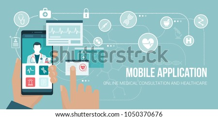 Healthcare and medical consultation app on a smartphone, the user is videocalling a doctor and sharing medical records