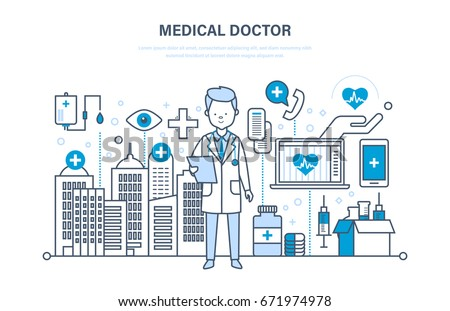 Healthcare and medical help. Medical doctor therapist in dressing gown. Medical institution, hospital, building, clinic. Illustration thin line design of vector doodles, infographics elements.