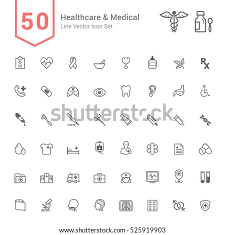 Healthcare and Medical Icon Set. 50 Line Vector Icons.
