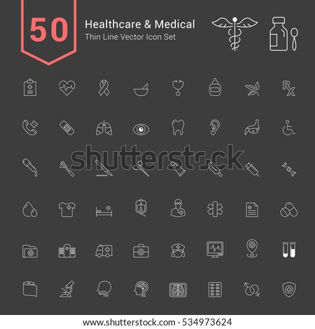 Healthcare and Medical Icon Set. 50 Thin Line Vector Icons.