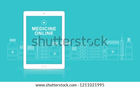 Healthcare and medical online ipad with bottles set medicine, pills, healthcare and pharmacy on website for hospital and clinic vector illustration