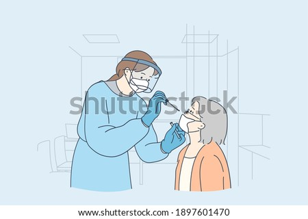 Healthcare and medical testing for COVID-19 concept. Professional medical worker woman nurse wearing personal protective equipment testing senior woman for dangerous disease using test stick