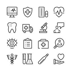 Healthcare and medicine line icons set. Modern graphic design concepts, simple outline elements collection. Vector line icons