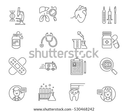 Healthcare and medicine set of vector icons