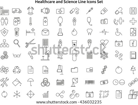 Healthcare And Science Line Icons Set