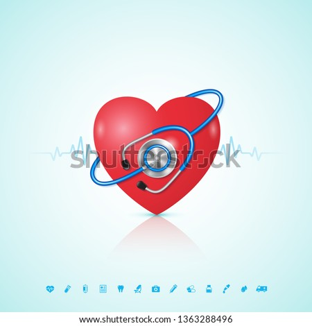 Healthcare concept heart with stethoscope, heartbeat and flat icons in medicine, medical, health, cross decoration for flyers, poster, web, banner, and card vector illustration