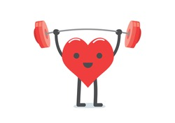 Healthcare concept, strong heart weight lifting over isolated background